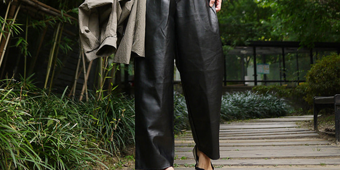 Fake Leather Wide Pants